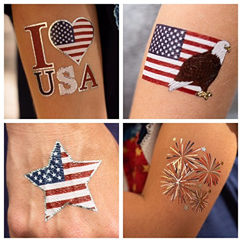 - 24 Patriotic Temporary Tattoos Best for 4th of July Party Supplies, USA Party Favors and Fourth of July Party Decorations - Metallic American Flag Red White and Blue Fake Tattoos for The Whole Family