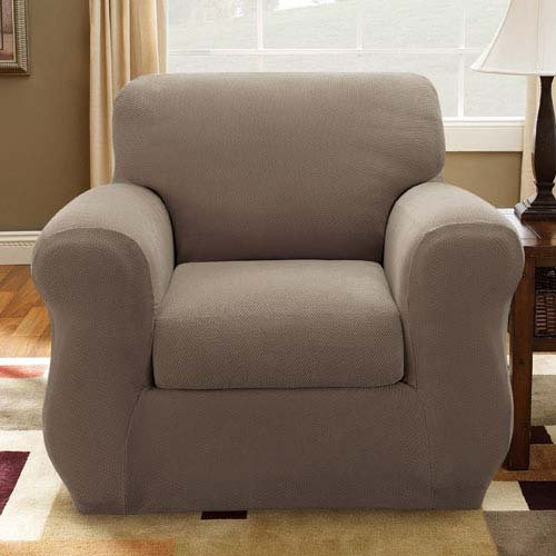 Sure Fit Stretch Pique 3-Piece  - Chair Slipcover  - Taupe (SF36719) by Surefit