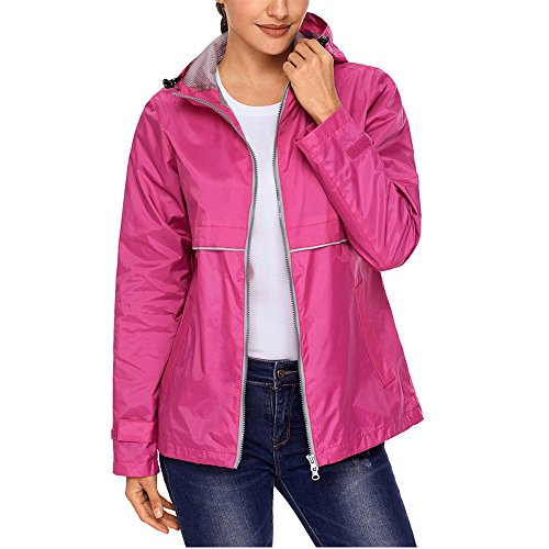 (SEBOWEL Women's Raincoat Lightweight Waterproof Rain Jacket Hoodie Active Casual Coat Rosy)