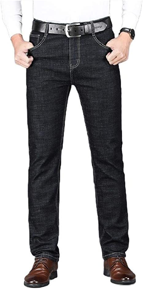 YAXINHE Men's Big Tall Stretch Relaxed Thermal Warm Fleece Lined Slim-Straight Jean