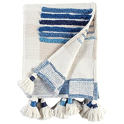 "Rivet Global Textured Throw Blanket With Large Tassels - This global-influenced throw is an eye-catching piece with bold graphics, oversized tassels and mix of indigo and lighter blues on an off-white background. Drape it over a chair, use on a bed, hang it on a wall or simply cuddle up. 50""W x 60""L Hand woven of 100% cotton - blankets-throws, bedroom-sheets-comforters, bedroom - 51ETtsrt5SL. SS400  -"