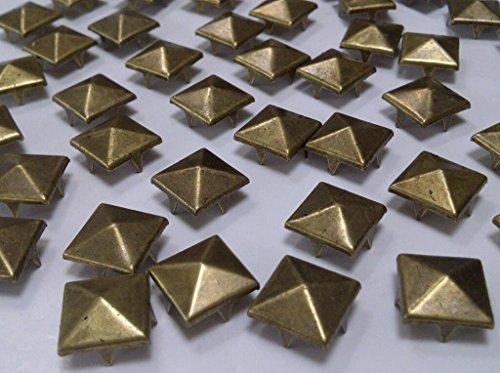 CraftbuddyUS 100 pcs 12 mm Brass Square Pyramid Craft Studs, Fashion Embellishment for Bag Shoe