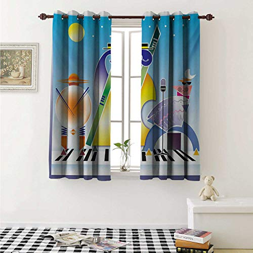 shenglv Music Decorative Curtains for Living Room Abstract Band of Geometric Shapes Drums Accordion Performing on Keyboard Surface Curtains Kids Room W72 x L72 Inch Multicolor