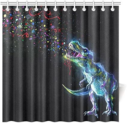 Details about  /Dinosaur Shower Curtain Colorful Mosaic T-rex Print for Bathroom