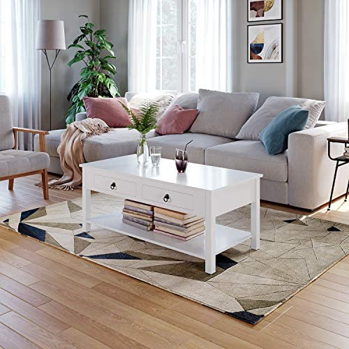 HOMECHO Coffee Table White Center Tables Living Room with 2 Drawers Organizer and Storage Shelf Rectangular Wood Modern Cocktail Sofa Table Home Furniture, White, HMC-MD-018