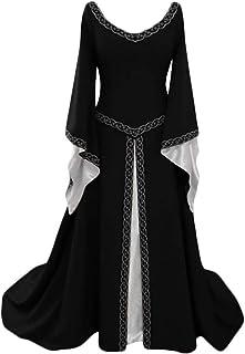 Costume Medievale per Donne, retrò Maniche Lunghe Costume per Halloween Partito Cosplay Donna Vittoriano Rinascimentale Abito Lungo Vestito Costume Taglia S-5XL
