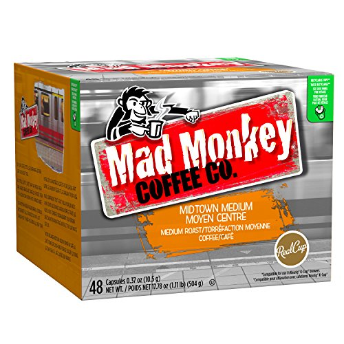 Mad Monkey Single Serve Coffee Capsules, Midtown Medium, 100% Arabica Medium Roast, Compatible with Keurig K-Cup Brewers, 48 Count