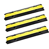 Happybuy 3 Pack of 2-Channel Cable Protector Durable Cable Ramp Protective Cover Cable 11000lbs per Axle Capacity Protector Ramp Speed Bump Rubber Traffic Speed Bumps Channel Cable Protector