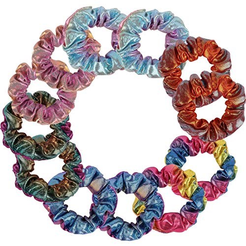 Velscrun Shiny Metallic Hair Scrunchies, 12 Pack Hair Elastic Bobbles Scrunchies For Hair, Hair Ties Ponytail Holders, 12 Pieces