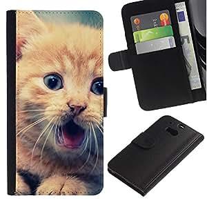 KLONGSHOP // Tirón de la caja Cartera de cuero con ranuras para tarjetas - Lindo Gatito anaranjado - HTC One M8 //