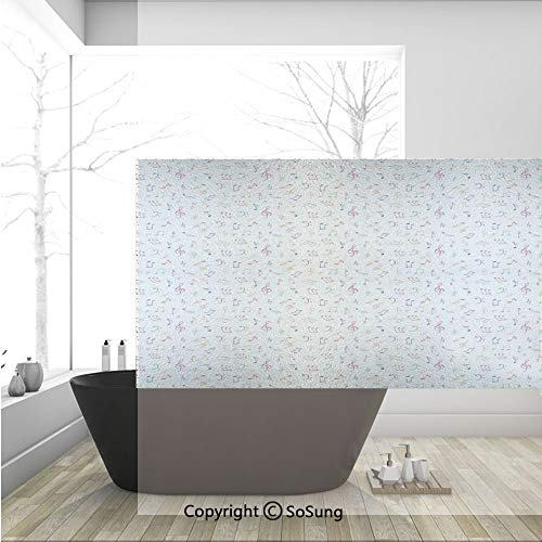 3D Decorative Privacy Window Films,Watercolor Icons Sonic Beats Vocals Dynamic Cultural Activity Concert Harmony Artwork Decorative,No-Glue Self Static Cling Glass film for Home Bedroom Bathroom Kitch]()