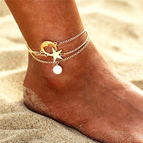 Yean Layered Star Anklet Moon Ankle Bracelet with Pearl Foot Jewelry for Women and Girls ()