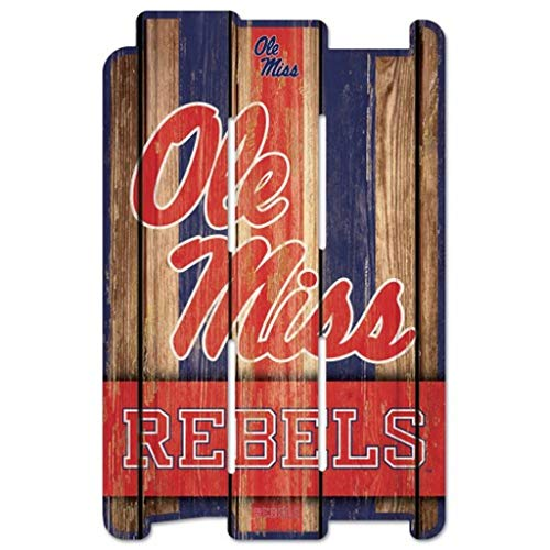 Wincraft NCAA University of Mississippi Wood Fence Sign, Black