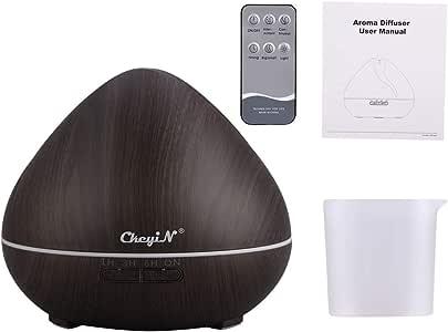 550ml Difusor de Aromaterapia,7 Agujeros Difusor de Aceite Esencial/Humidificador-7 Colores+3 Temporizador-Para la Habitación del Bebé/SPA/Yoga/Masaje/Oficina,Etc (B)