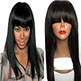NiceToBuy Glueless Silky Straight Lace Front Wig with Bangs Brazilian Virgin Human Hair Wigs for Women Natural Color 16inch