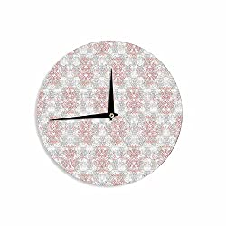 KESS InHouse Carolyn Greifeld Damask Splatter Pink Gray Wall Clock, 12
