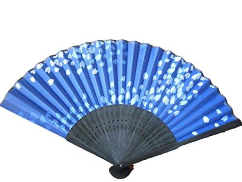 zakkaya JAPAN Folding Fan sensu Pure Japanese Style Dancing Props Cloth Type 8.2in Blue&Black Cherry Blossoms Sakura