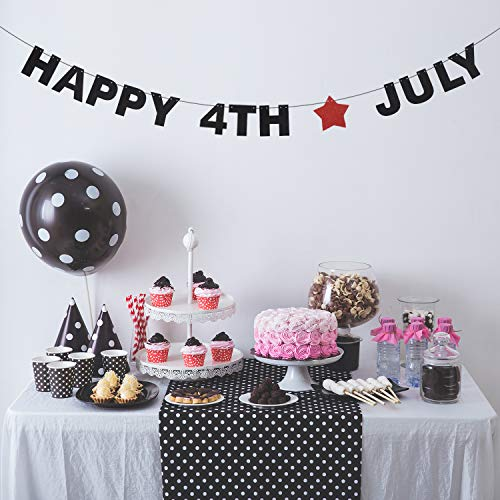 Happy 4th July USA Banner - Red Glitter Star America Independence Day Anniversary Backdrop Décor - Fourth of July Anniversary Patriotic Memorial Day Veterans Day -