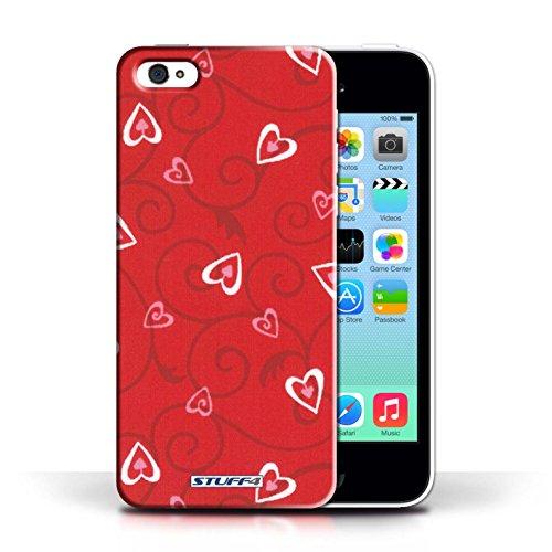 iCHOOSE Print Motif Coque de protection Case / Plastique manchon de telephone Coque pour Apple iPhone 5C / Collection Coeur Vigne Motif / Rouge/Rose
