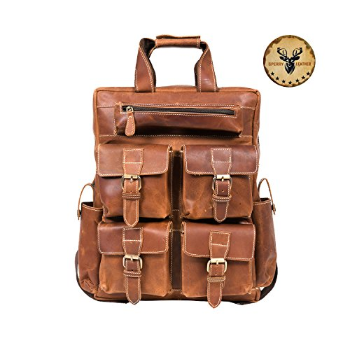 Sperry Leather Vintage Crazy Horse Genuine Leather Backpack Multi Pockets Travel Sports Bag Handcrafted Real Leather Vintage Laptop Backpack Shoulder Bag Travel Bag (Maroon)