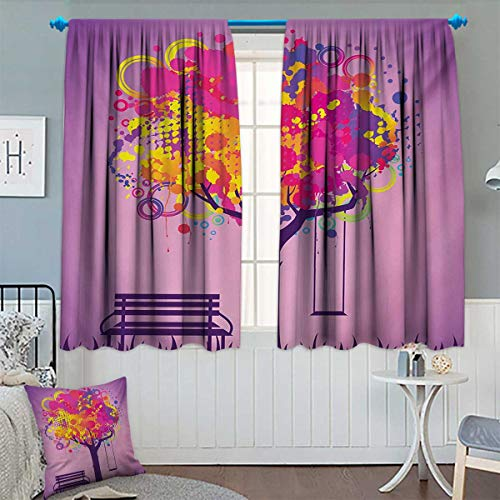 (Chaneyhouse Tree Thermal Insulating Blackout Curtain Retro Picture of Graffiti Colorful Tree with Circle Patterns and Swing Childhood Graphic Patterned Drape for Glass Door 55