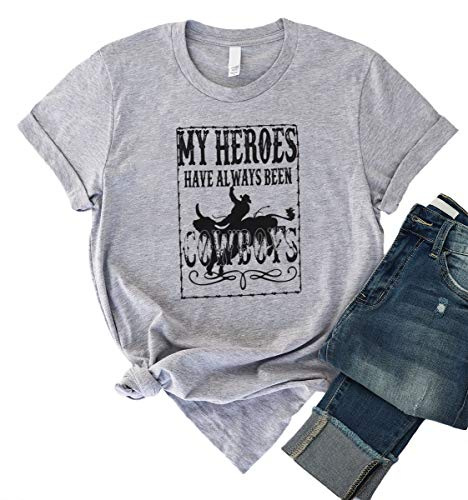 Womens Country Shirt Outfit Cowgirl Western Tee Rodeo Girls Concert Top Clothing Size L (Grey)