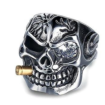 Adisaer Totenschädel Totenkopf Ring Silber
