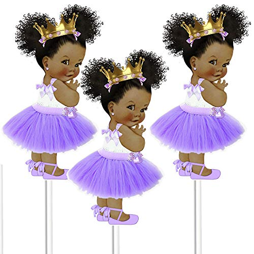 Little Lavender Princess Table Decoration Centerpieces, Set of 3 African American Princess Royal Birthday Cake Centerpieces