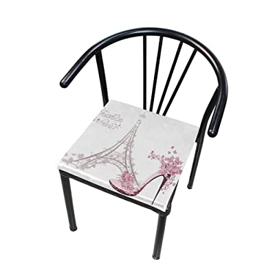 "Bardic HNTGHX Outdoor/Indoor Chair Cushion Eiffel Tower High Heels Flower Square Memory Foam Seat Pads Cushion for Patio Dining, 16"" x 16"": Home & Kitchen"