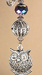 Antiqued Pewter Silvery Metal Owl and Lampwork Glass Fan Pull Chain /Light Pull