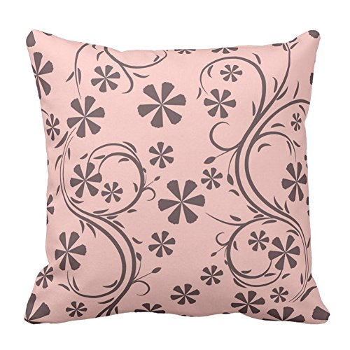 Price comparison product image Floral Design Light Pink and Light Brown Flower Pattern Square Throw Pillow Case Decorative Cushion Cover For Sofa Bed Chair,  20X20 Inch
