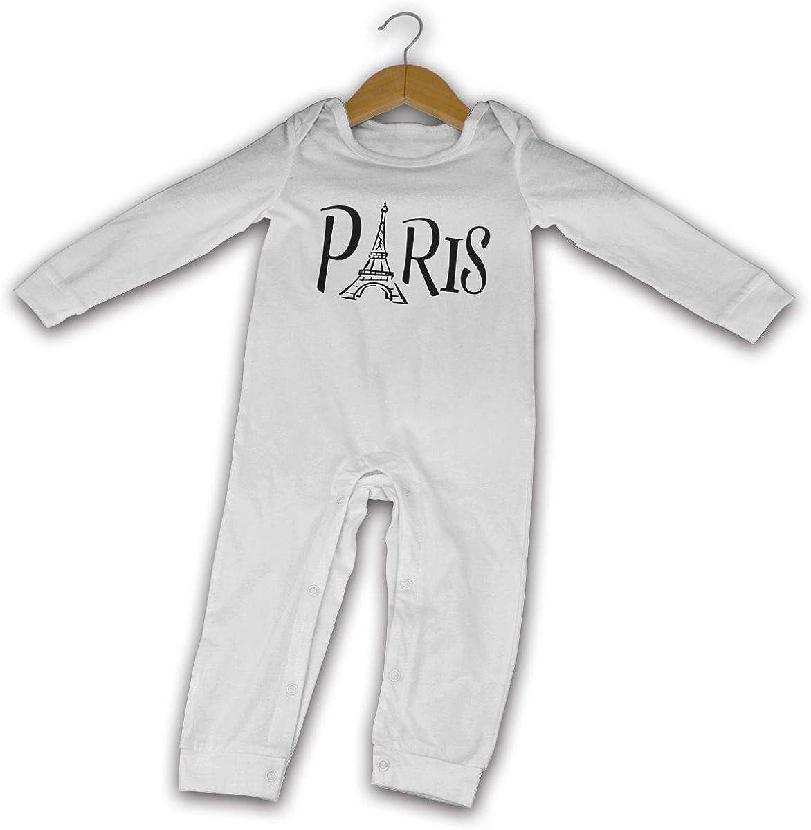 Paris Eiffel Tower Printed Boys Girls One-Piece Suit Long Sleeve Pajamas White