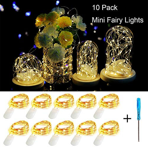 10 Pack Fairy String Lights Battery Operated,Fainyearn Starry String Lights 7.1ft 20 Micro LEDs on Silvery Copper Wire, Firefly Lights for Christmas,Party,DIY Wedding Centerpiece or Table Decorations