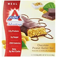 Atkins Advantage Chocolate Peanut Butter Meal Bar, 5 Count 2.1oz Bars by Atkins