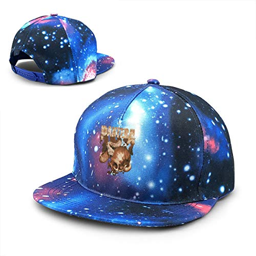 - LixuA Pantera Rattler Skull Galaxy Snapback Hat Unisex Plaid Flat Bill Brim Baseball Cap Blue