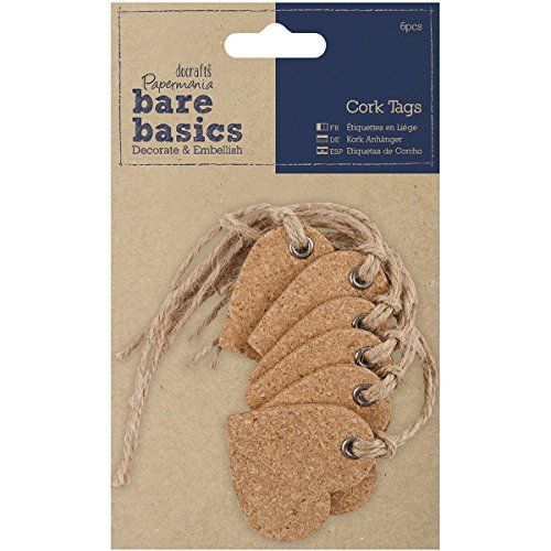 DOCrafts Papermania Bare Basics Cork Tags Heart ()