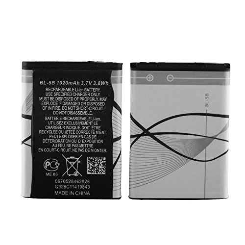 - XHDATA BL-5B Lithium Ion 2 Pieces 1020mAh 3.7V Rechargeable Battery for Mobile Phone Nokia Battery(5B-2)