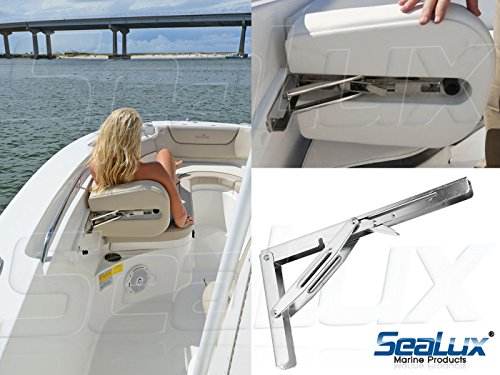 SeaLux Heavy Duty 12'' Stainless Steel 90 degree Folding Brackets for Shelf, Bench, Table Support with Short release Handle / Max. Bearing 550 lb (Sold as 2 pcs) by SeaLux Marine Products (Image #3)