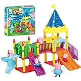 Peppa pig castle shape slide amusement park with pig action figures