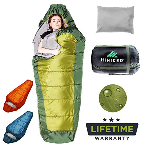 HiHiker Mummy Bag + Travel Pillow w/Compact Compression Sack - 4 Season Sleeping Bag for Adults & Kids - Lightweight Warm and Washable