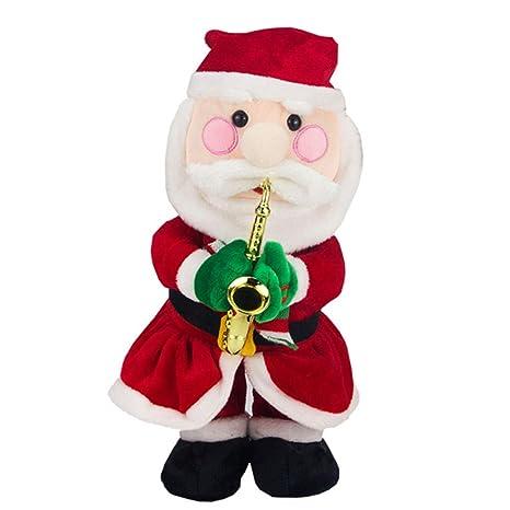 yode electric musical santa claus decoration singing christmas deer plush stuffed toys doll christmas hat for - Singing Christmas Toys