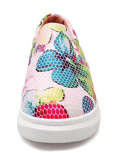 Idifu Donna Casual Stampa Floreale Low Top Slip On Mocassini Sneakers Tacco Medio A Punta Tinta Unita Rosse