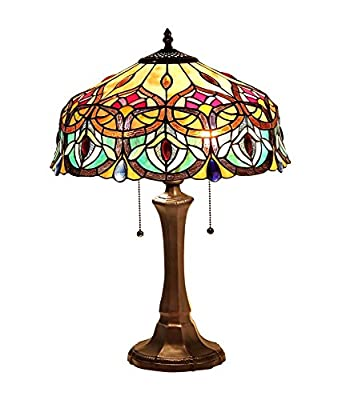 "Chloe Lighting CH33454GV16-TL2 LYDIA Tiffany-Style Victorian 2 Light Table Lamp, 15.5"", Multicolor"