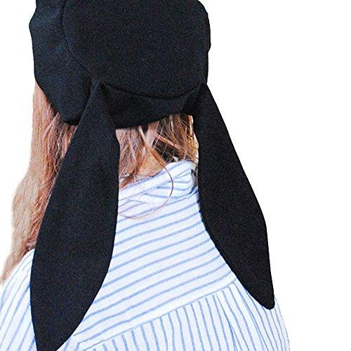 Rabbit Floppy (Beret Hat Cap for Women Unique Cute Rabbit Ear Skullcap Beanie All Black)