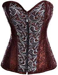 Brown Steampunk Steel Boned Corset Gothic Bustier Top