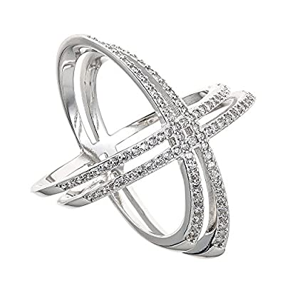 925 Sterling Silver Double 'X' Criss Cross Ring, Cubic Zirconia Stones, For Women & Girls Size 6' 7' 8' 9