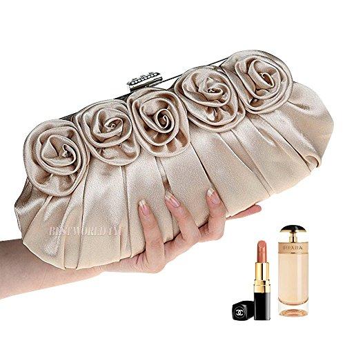 Ladies Rose Wedding Evening Party Clutch Bridal apricot Satin Handbag Bag Prom Wocharm Silk AptdAw