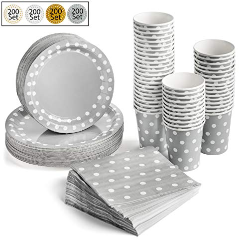 200 Pcs Serves 50, Silver Party Supplies Set | Strong | No Flimsy Plates Or Leaky Cups | Polka Dot Disposable Paper…