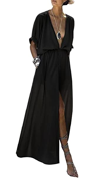c1b094b59dcbe7 ouxiuli Womens Fashion Deep V-Neck Solid Color hiffon Roll up High Split  Shirt Maxi Dress at Amazon Women's Clothing store:
