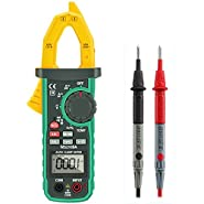 Digital Clamp Meter, LIUMY Auto-Ranging AC/DC Clamp Multimeter with NCV, Work Light/ Memory peak, Non- contact Voltages/ Frequency/ Resistance/ Capacitance/ Connections/ Diodes and Temperature